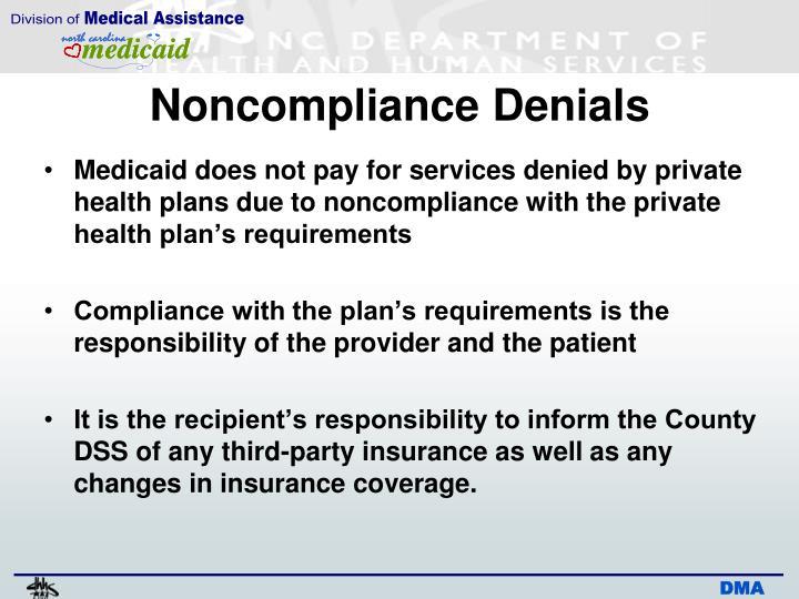 Noncompliance Denials