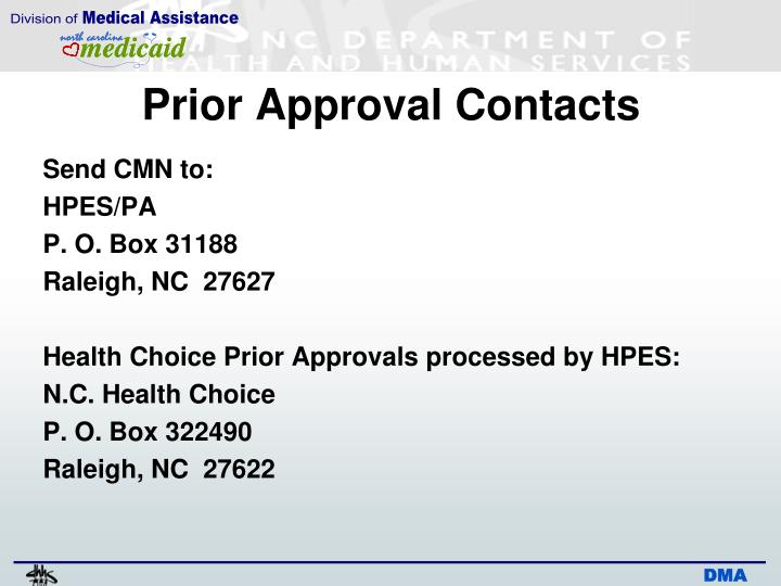 Prior Approval Contacts