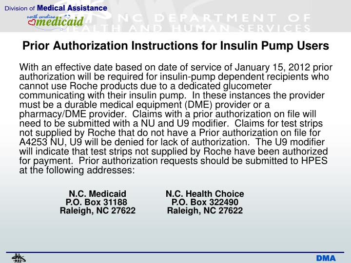 Prior Authorization Instructions for Insulin Pump Users