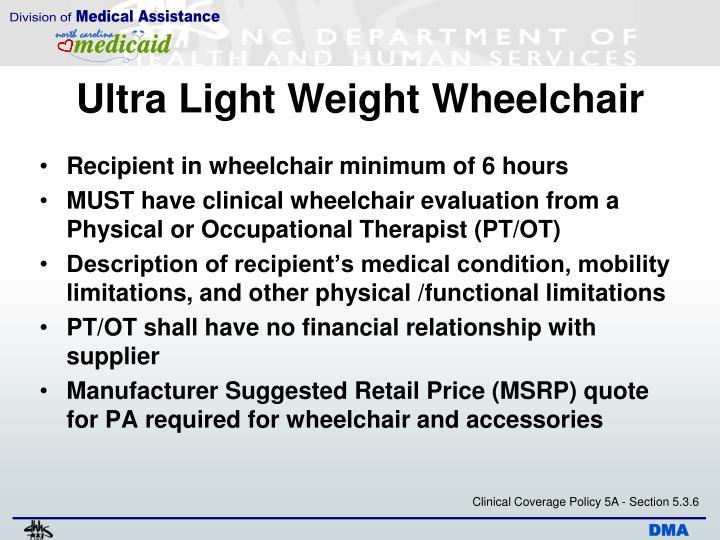 Ultra Light Weight Wheelchair