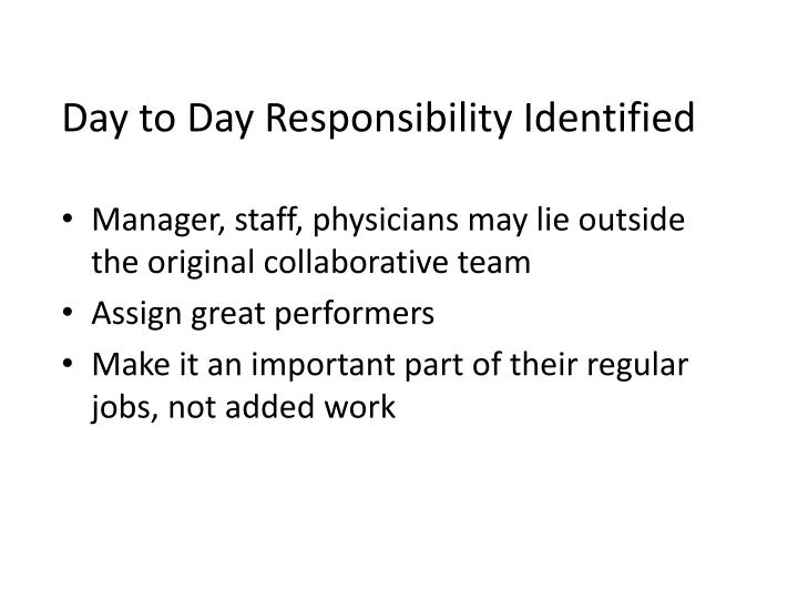 Day to Day Responsibility Identified