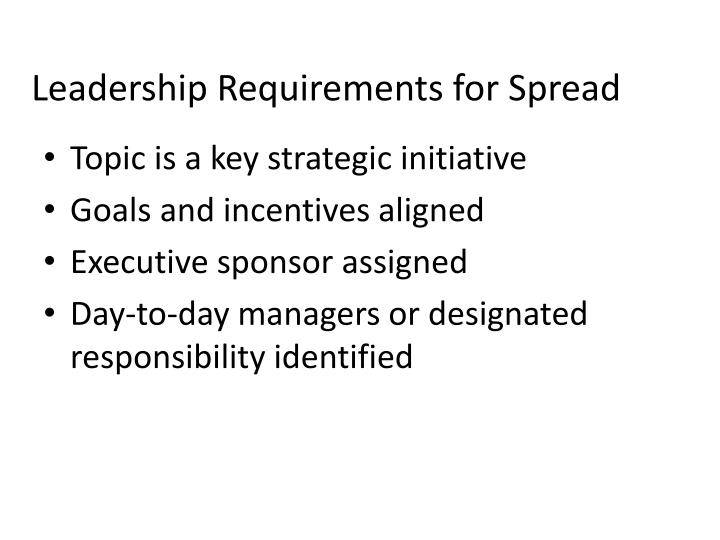 Leadership Requirements for Spread