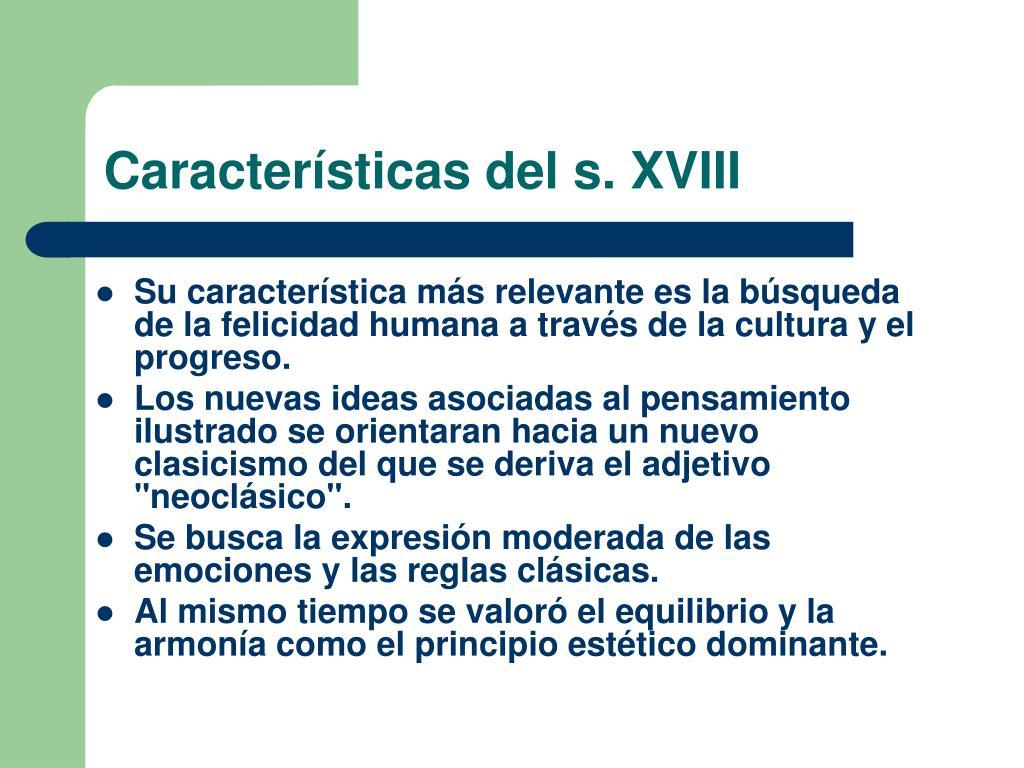 Características del s. XVIII