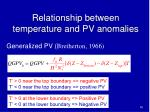 relationship between temperature and pv anomalies