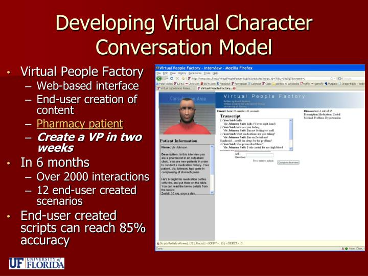 Developing Virtual Character Conversation Model