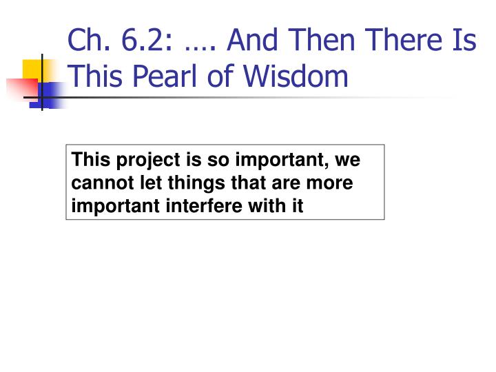 Ch. 6.2: …. And Then There Is This Pearl of Wisdom