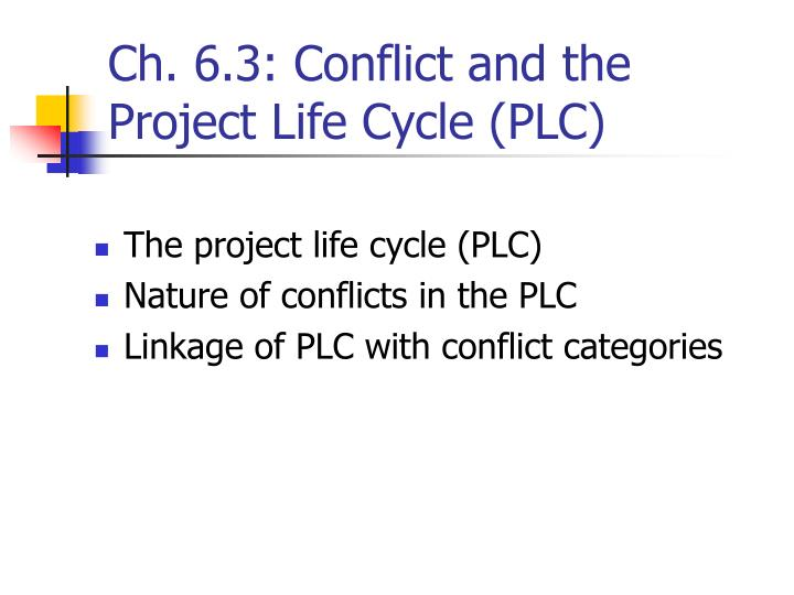Ch. 6.3: Conflict and the Project Life Cycle (PLC)
