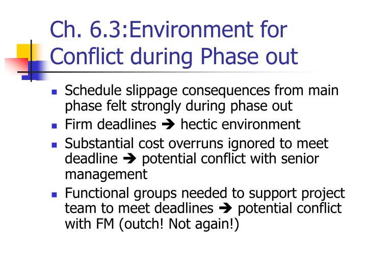Ch. 6.3:Environment for Conflict during Phase out