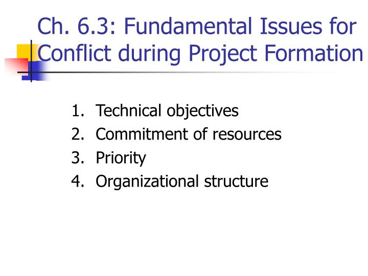 Ch. 6.3: Fundamental Issues for Conflict during Project Formation