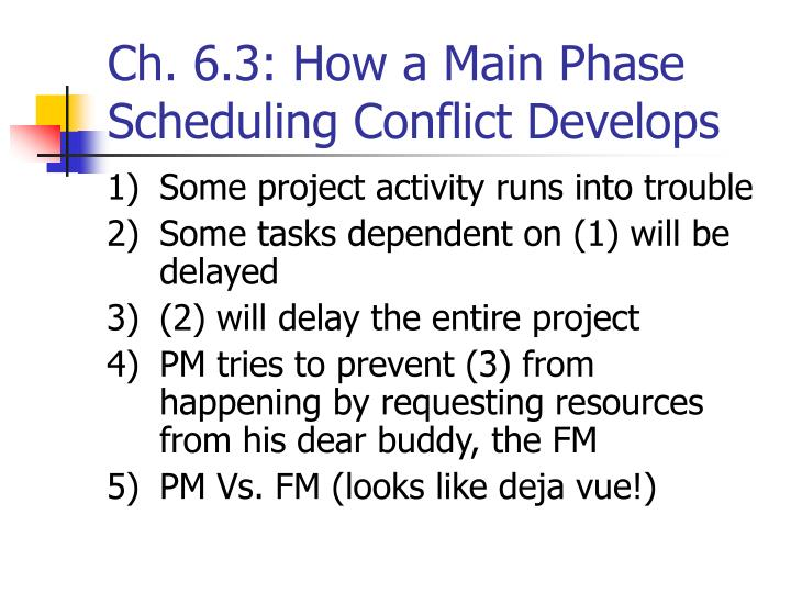 Ch. 6.3: How a Main Phase Scheduling Conflict Develops