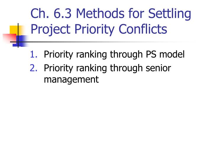 Ch. 6.3 Methods for Settling Project Priority Conflicts