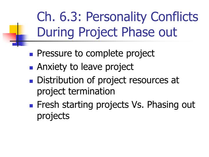 Ch. 6.3: Personality Conflicts During Project Phase out