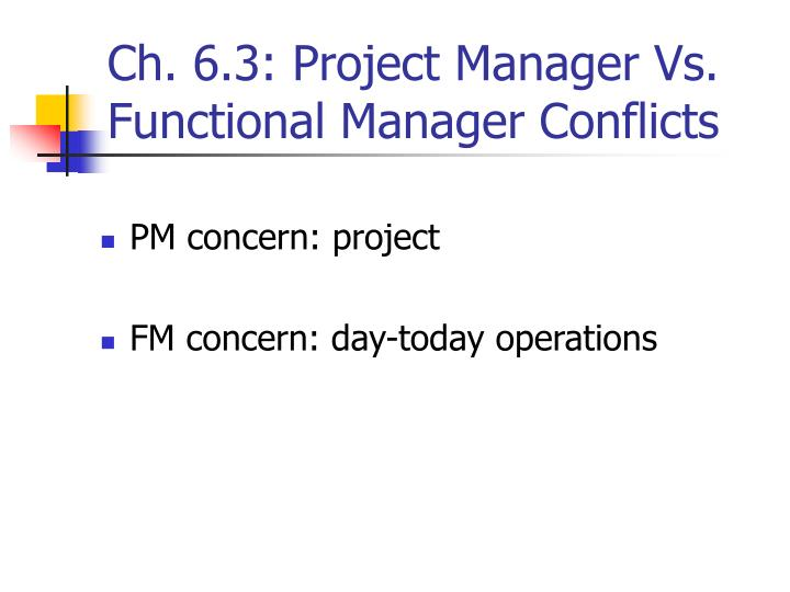 Ch. 6.3: Project Manager Vs. Functional Manager Conflicts