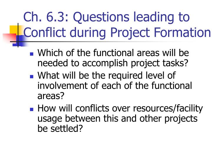 Ch. 6.3: Questions leading to Conflict during Project Formation