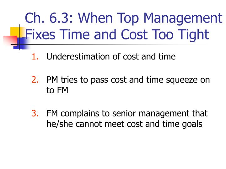 Ch. 6.3: When Top Management Fixes Time and Cost Too Tight