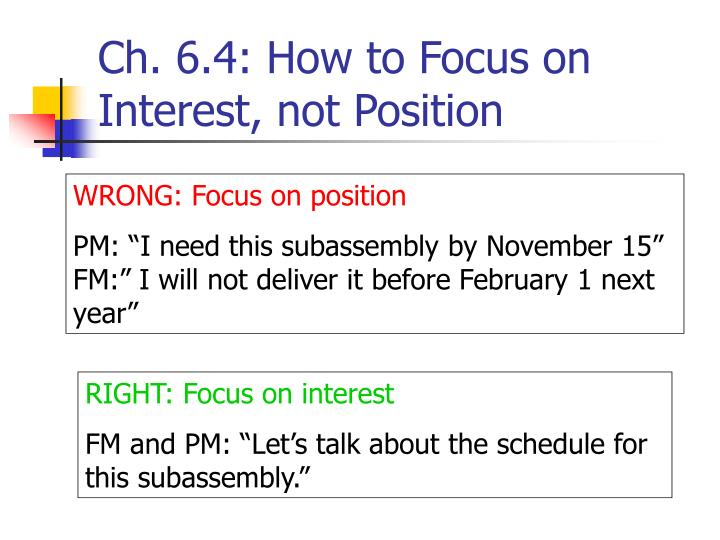 Ch. 6.4: How to Focus on Interest, not Position