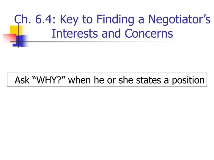 Ch. 6.4: Key to Finding a Negotiator's Interests and Concerns