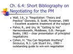 ch 6 4 short bibliography on negotiating for the pm