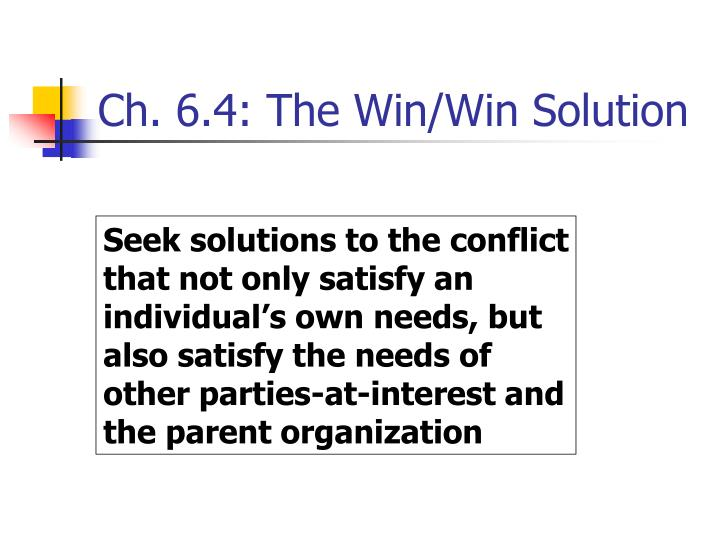 Ch. 6.4: The Win/Win Solution