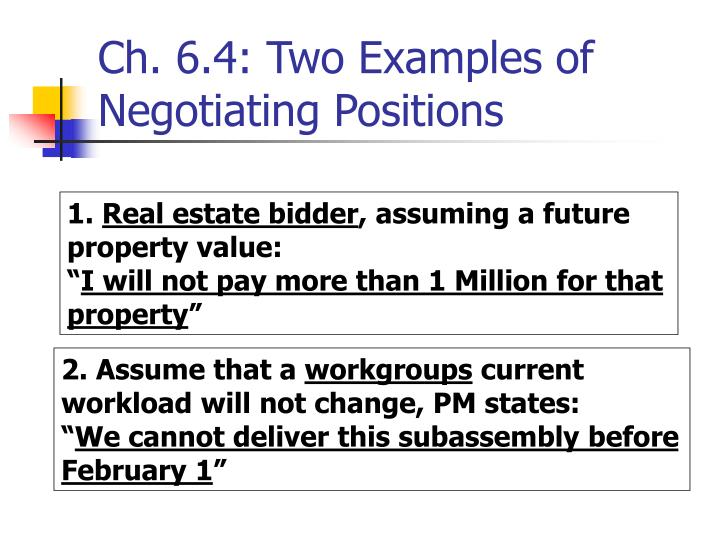 Ch. 6.4: Two Examples of Negotiating Positions
