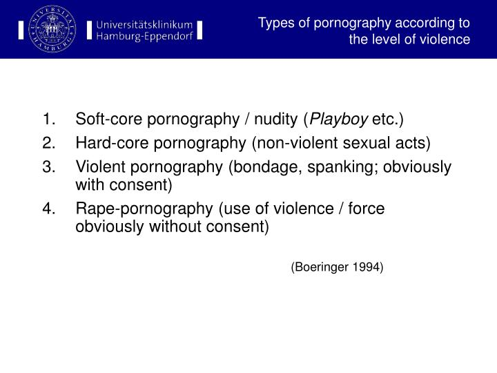 Types of pornography according to the level of violence