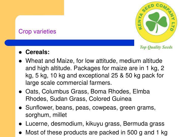 Crop varieties