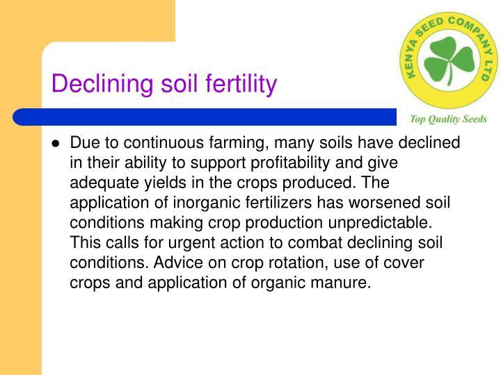 Declining soil fertility