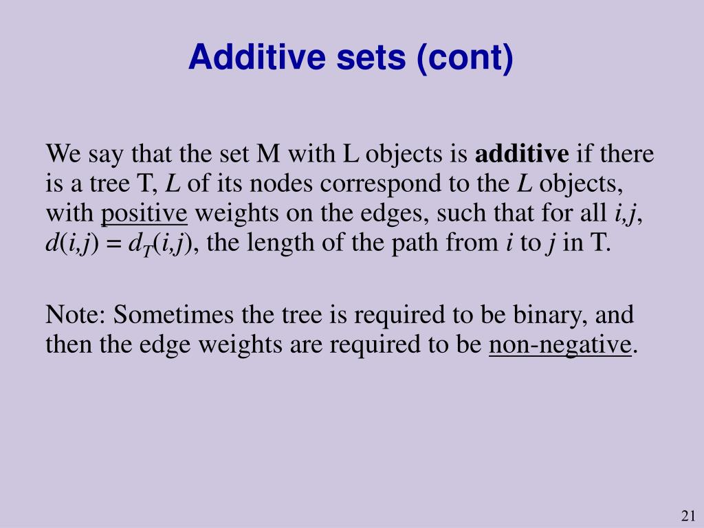 Additive sets (cont)
