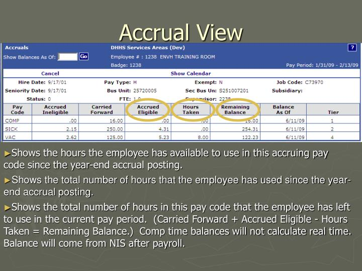 Accrual View