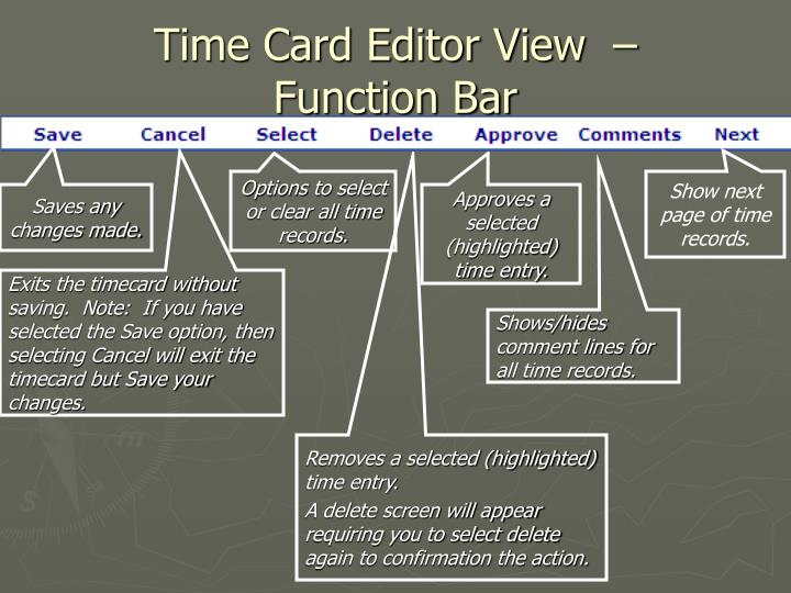 Time Card Editor View  –