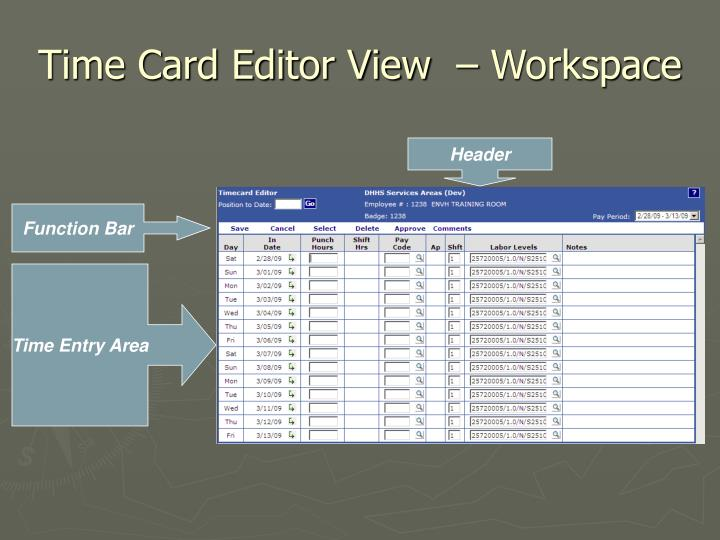 Time Card Editor View  – Workspace
