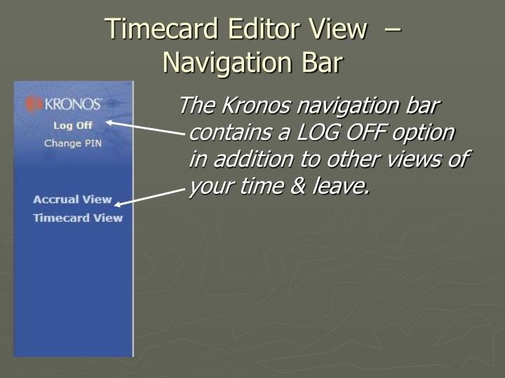 Timecard editor view navigation bar
