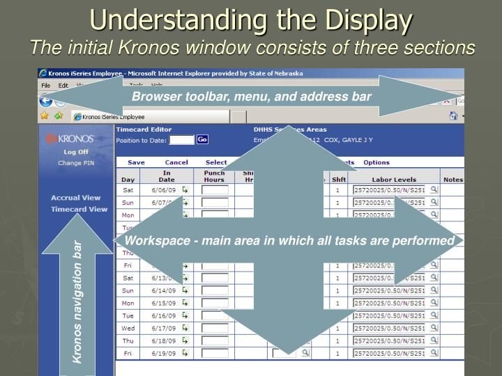 Understanding the display the initial kronos window consists of three sections