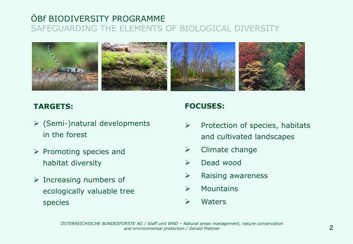 Bf biodiversity programme safeguarding the elements of biological diversity