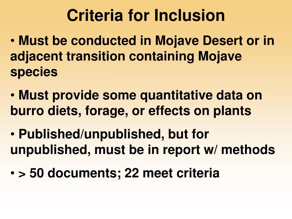Criteria for Inclusion