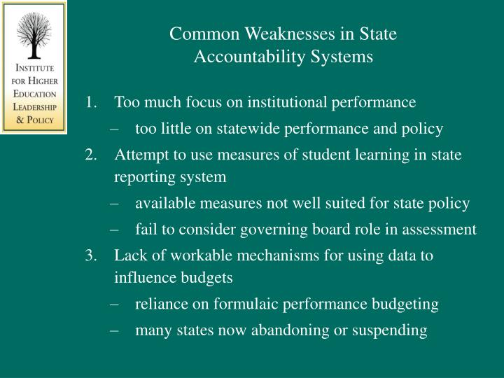 Common Weaknesses in State