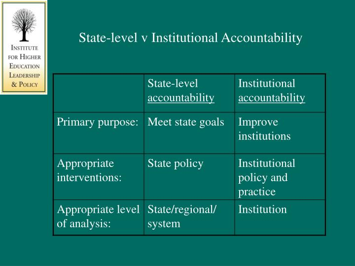 State-level v Institutional Accountability