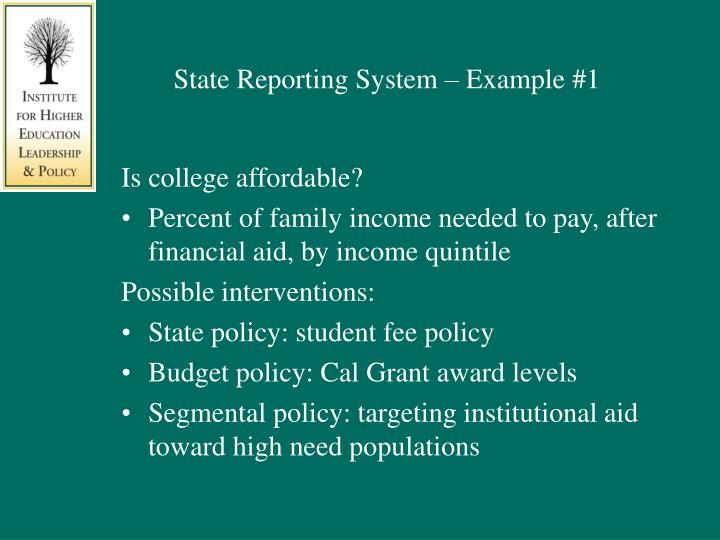 State Reporting System – Example #1