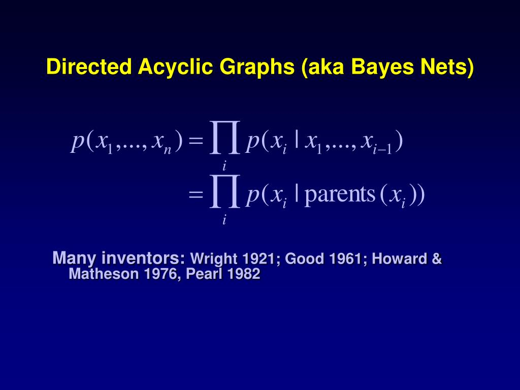Directed Acyclic Graphs (aka Bayes Nets)