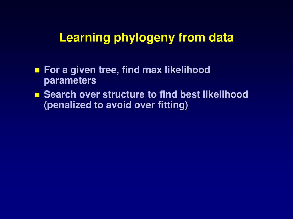 Learning phylogeny from data
