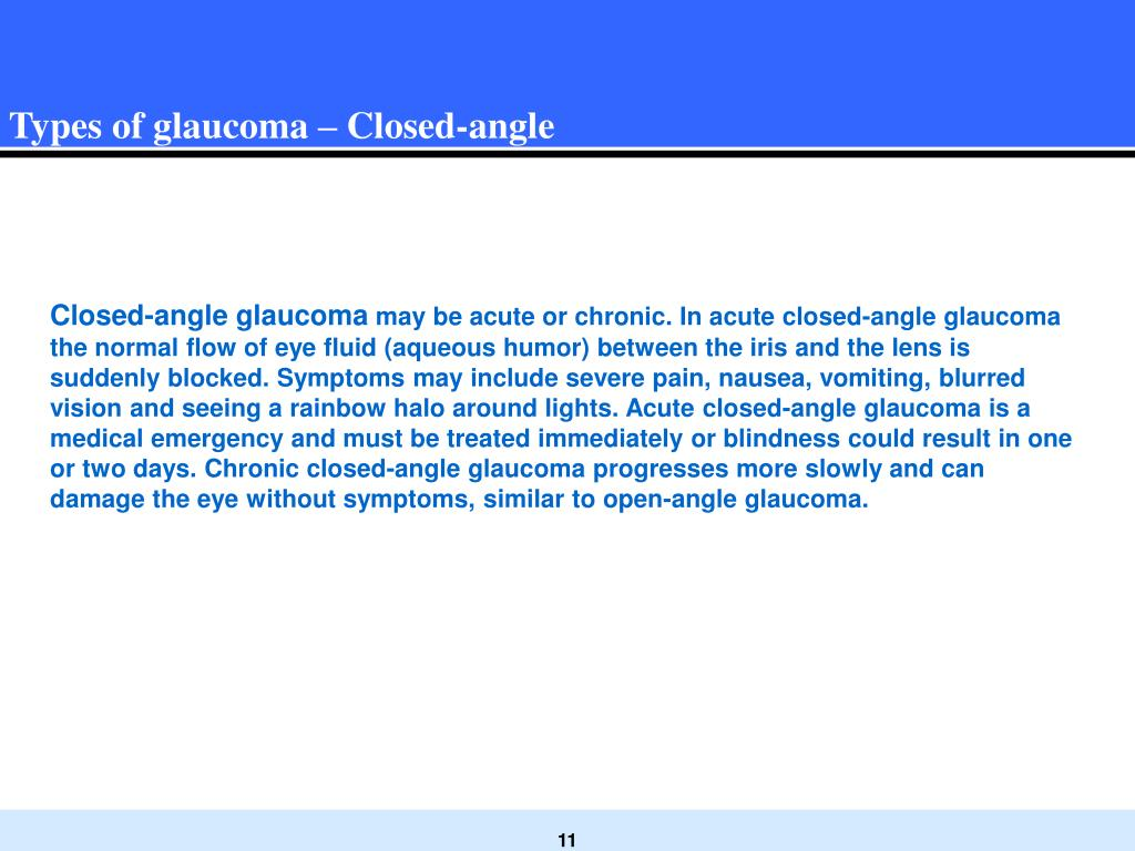 Types of glaucoma – Closed-angle