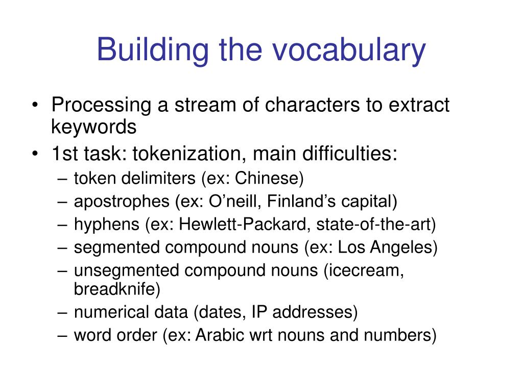 Building the vocabulary