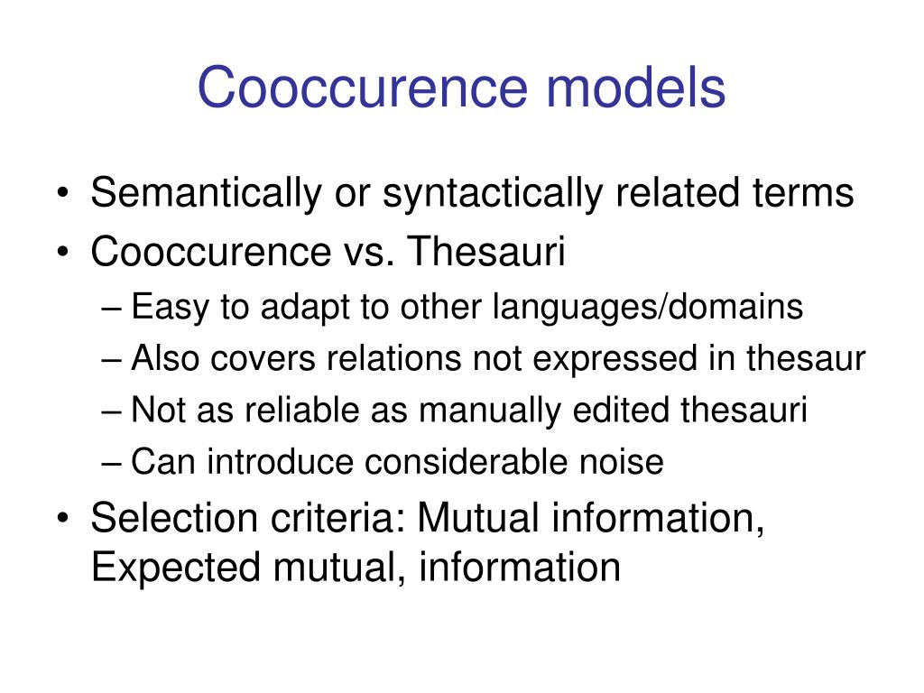 Cooccurence models