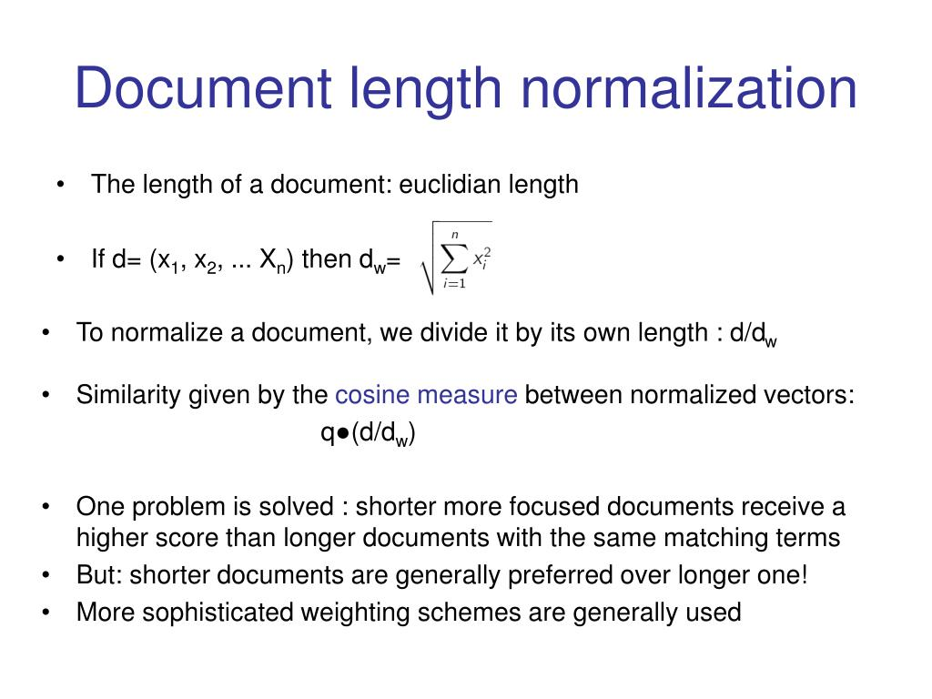 Document length normalization
