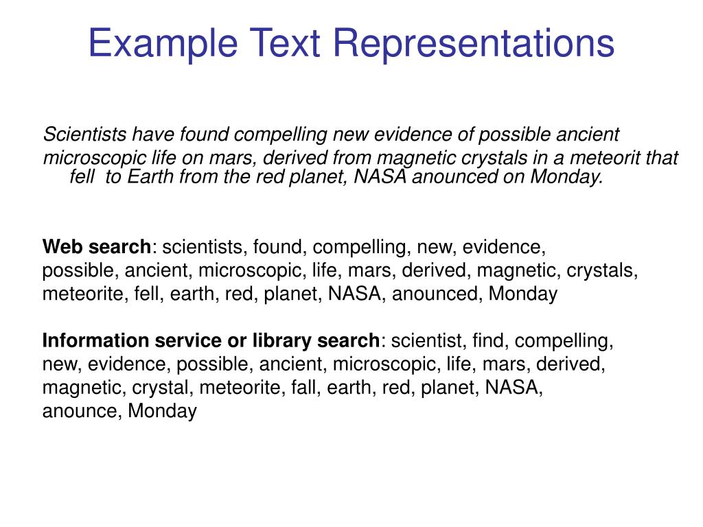 Example Text Representations