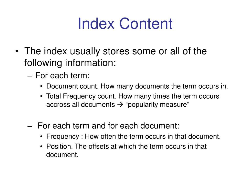 Index Content