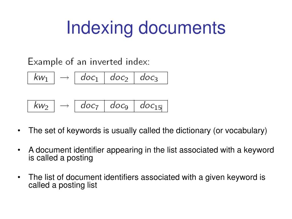 Indexing documents