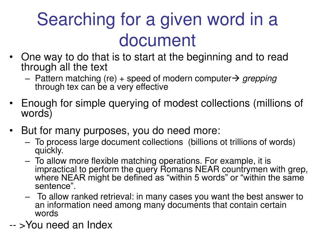 Searching for a given word in a document
