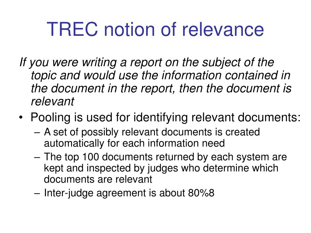 TREC notion of relevance