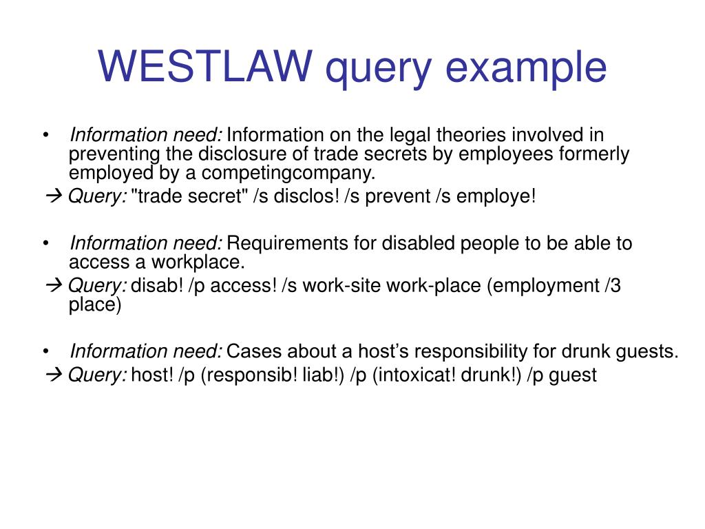 WESTLAW query example